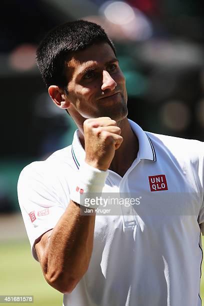Novak Djokovic of Serbia celebrates during his Gentlemen's Singles semifinal match against Grigor Dimitrov of Bulgaria on day eleven of the Wimbledon...