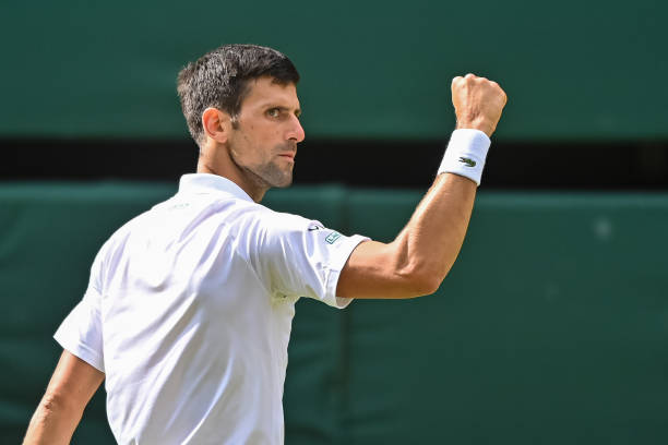 Novak Djokovic of Serbia celebrates during his match against Mateo Berrettini of Italy in the final of the gentlemen's singles during Day Thirteen of...