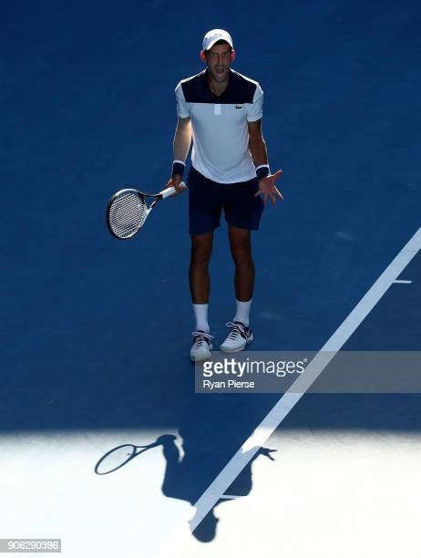Novak Djokovic of Serbia celebrates during his second round match against Gael Monfils of France on day four of the 2018 Australian Open at Melbourne...