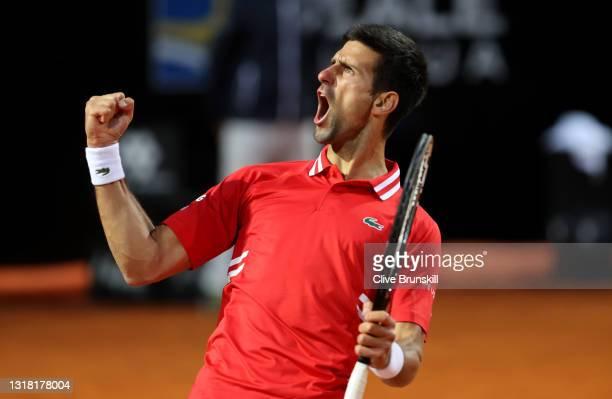 Novak Djokovic of Serbia celebrates during the Semi Final match between Novak Djokovic and Lorenzo Sonego on Day Eight of the Internazionali BNL...