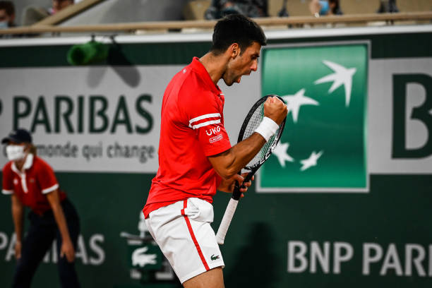 Novak DJOKOVIC of Serbia celebrates his point during the seventh round of Roland Garros at Roland Garros on June 9, 2021 in Paris, France.