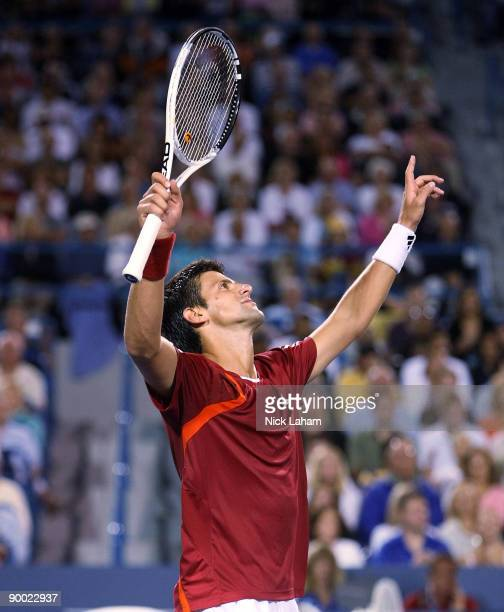 Novak Djokovic of Serbia celebrates his semifinal win against Rafael Nadal of Spain during day six of the Western Southern Financial Group Masters on...