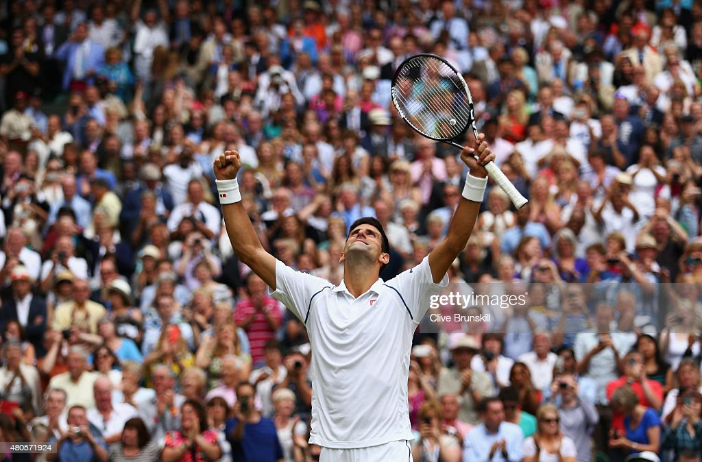 Novak Djokovic of Serbia celebrates his victory after winning the Final Of The Gentlemen's Singles against Roger Federer of Switzerland on day thirteen of the Wimbledon Lawn Tennis Championships at the All England Lawn Tennis and Croquet Club on July 12, 2015 in London, England.