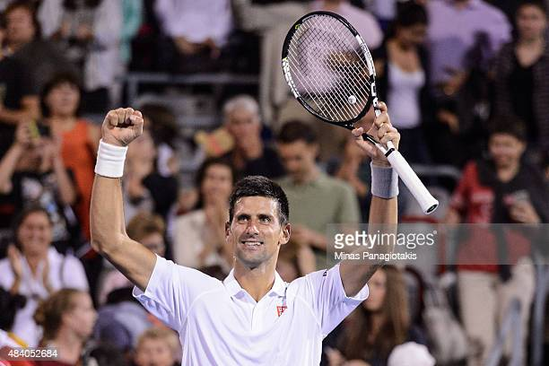 Novak Djokovic of Serbia celebrates his victory against Ernests Gulbis of Latvia during day five of the Rogers Cup at Uniprix Stadium on August 14...
