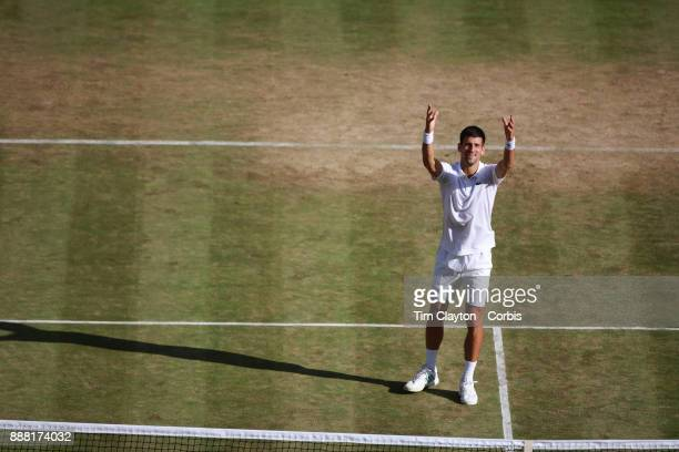 Novak Djokovic of Serbia celebrates his victory against Ernests Glubis of Latvia on Centre Court in the Gentlemen's Singles Competition during the...
