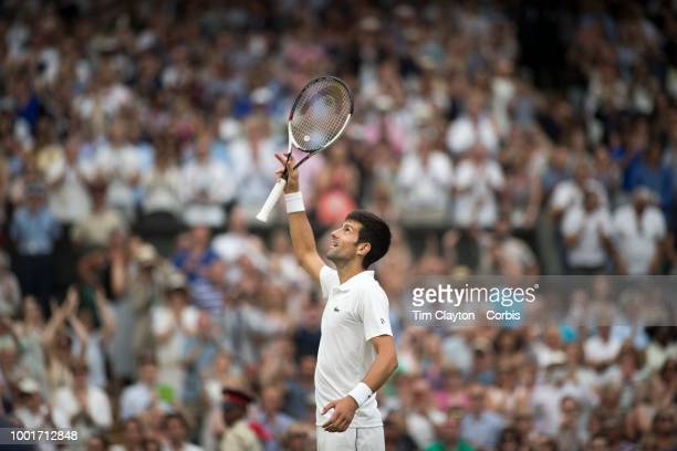 Novak Djokovic of Serbia celebrates his victory against Rafael Nadal of Spain in the Men's Singles Semifinal on Center Court during the Wimbledon...