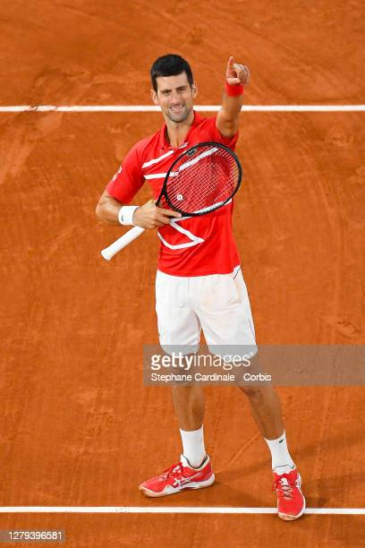 Novak Djokovic of Serbia celebrates his victory against Stefanos Tsitsipas of Greece in the Semi Finals of the singles competition on Court...