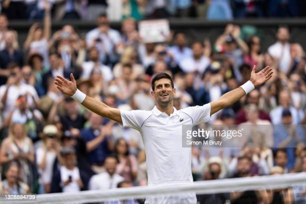 Novak Djokovic of Serbia celebrates his victory during the Men's Singles Final against Matteo Berrettini of Italy at The Wimbledon Lawn Tennis...