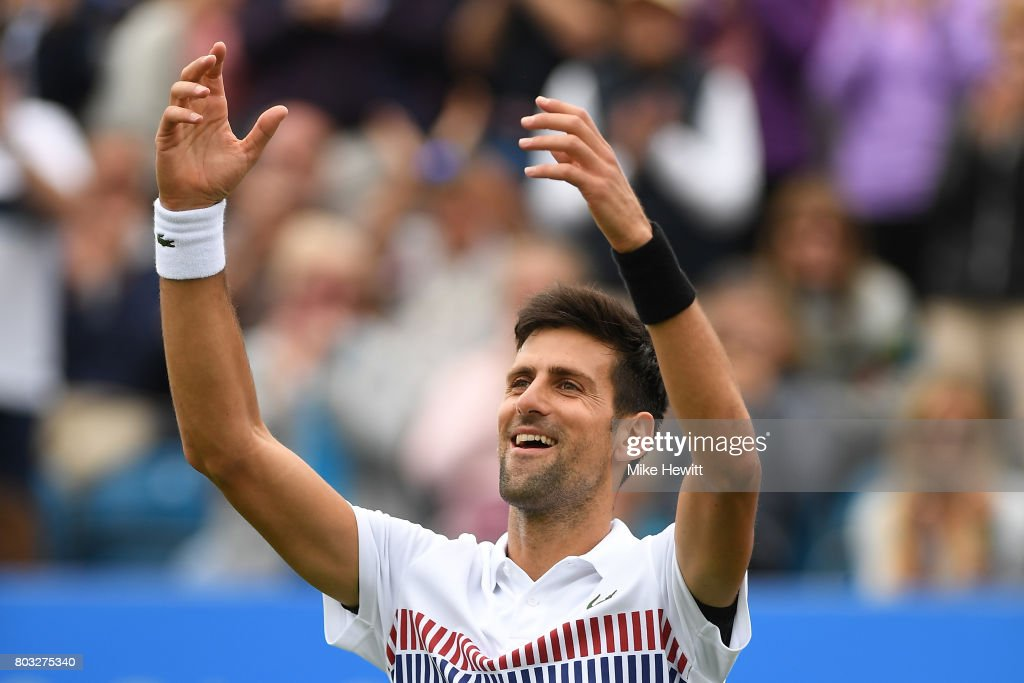 Novak Djokovic of Serbia celebrates his victory during the men's singles quarter final match against Donald Young of The United States on day five of the Aegon International Eastbourne at Devonshire Park Lawn Tennis Club on June 29, 2017 in Eastbourne, England.
