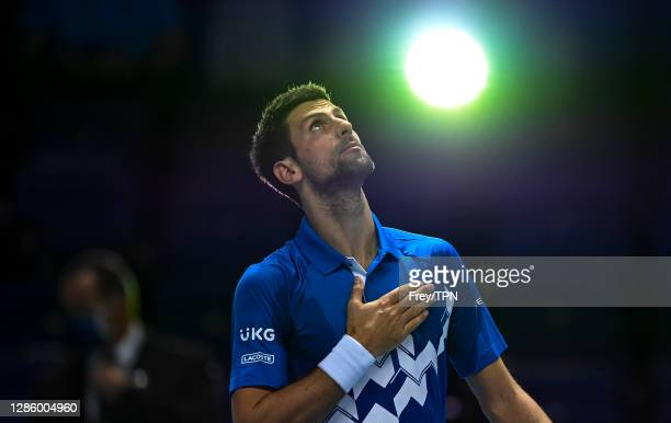 Novak Djokovic of Serbia celebrates his victory over Diego Schwartzman of Argentina during Day 2 of the Nitto ATP World Tour Finals at The O2 Arena...