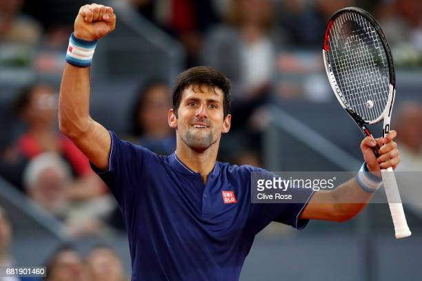Novak Djokovic of Serbia celebrates his victory over Feliciano Lopez of Spain on day six of the Mutua Madrid Open tennis at La Caja Magica on May 11...