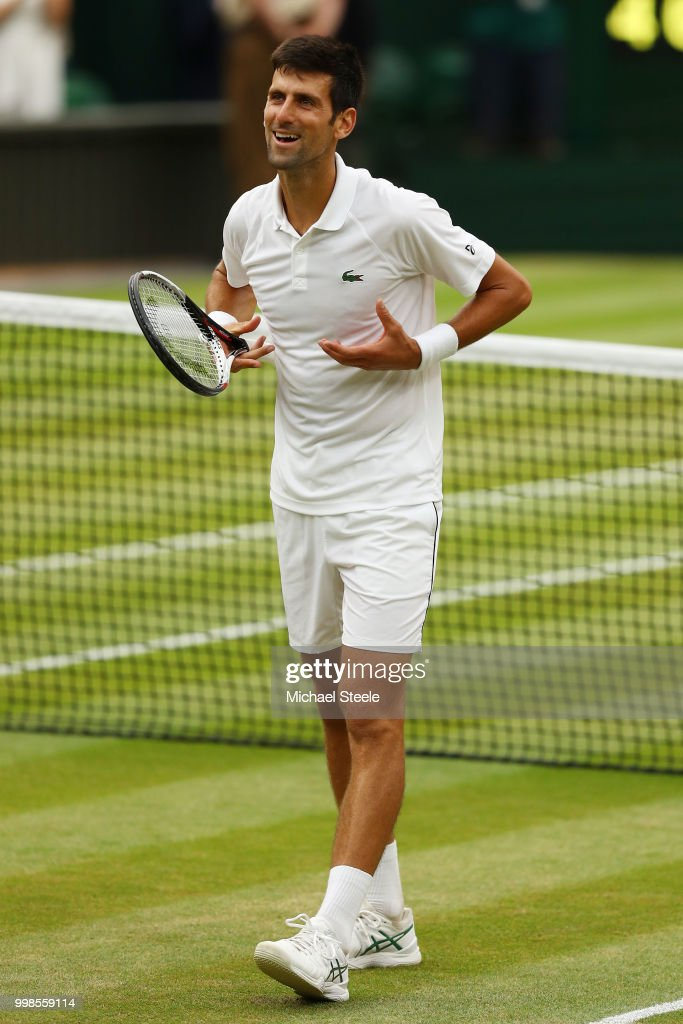 Novak Djokovic of Serbia celebrates his victory over Rafael Nadal of Spain after their Men's Singles semi-final match on day twelve of the Wimbledon Lawn Tennis Championships at All England Lawn Tennis and Croquet Club on July 14, 2018 in London, England.