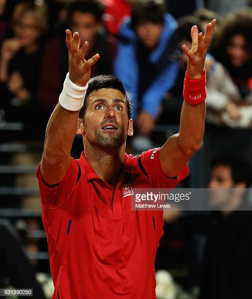 Novak Djokovic of Serbia celebrates his win against Kei Nishikori of Japan during day seven of The Internazionali BNL d'Italia 2016 on May 14 2016 in...