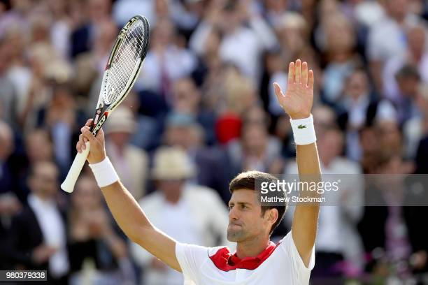 Novak Djokovic of Serbia celebrates his win during his men's singles match against Grigo Dimitrov of Bulgaria during Day Four of the FeverTree...