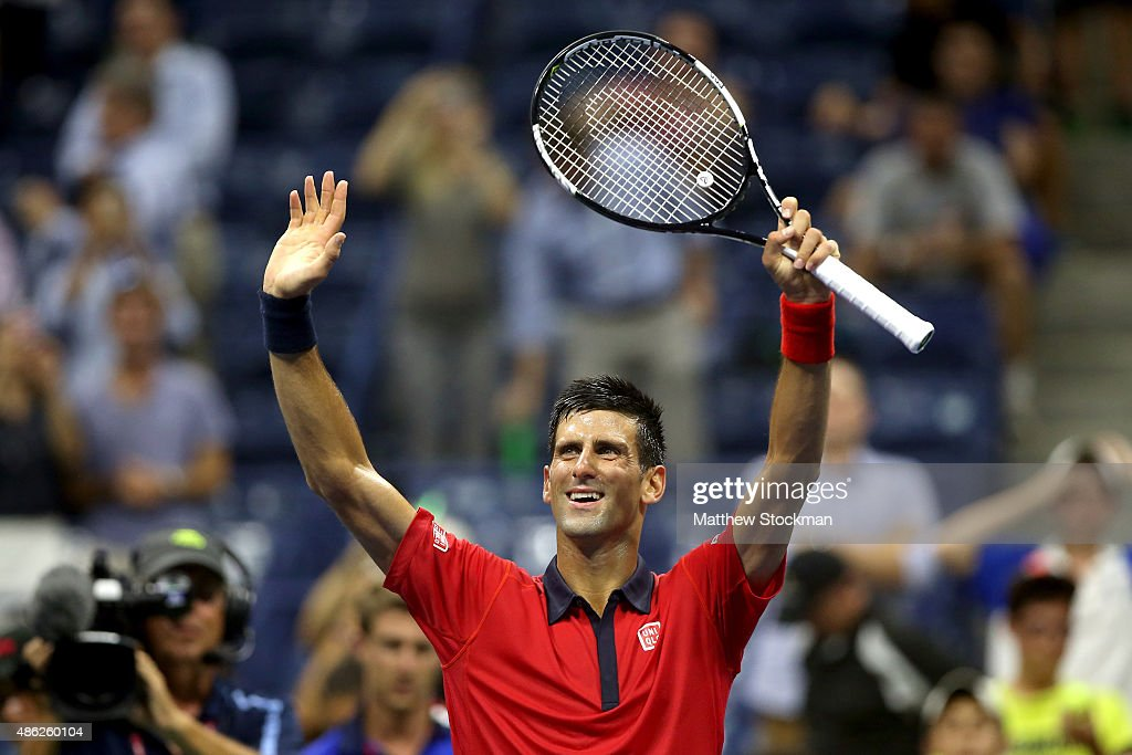 Novak Djokovic of Serbia celebrates his win over Andreas Haider-Maurer of Austria during their Men's Singles Second Round match on Day Three of the 2015 US Open at the USTA Billie Jean King National Tennis Center on September 2, 2015 in the Flushing neighborhood of the Queens borough of New York City.