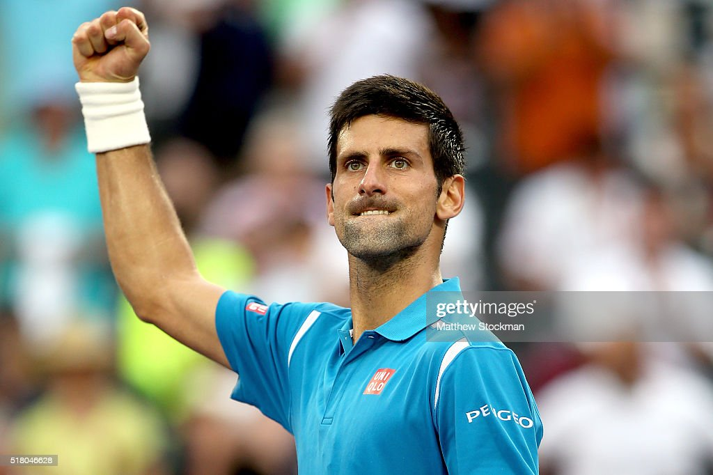 Novak Djokovic of Serbia celebrates his win over Dominic Thiem of Austria during the Miami Open presented by Itau at Crandon Park Tennis Center on March 29, 2016 in Key Biscayne, Florida.