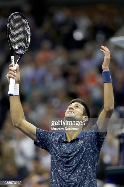 Novak Djokovic of Serbia celebrates his win over Juan Martin Del Potro of Argentina during the men's final of the US Open at Arthur Ashe Stadium on...