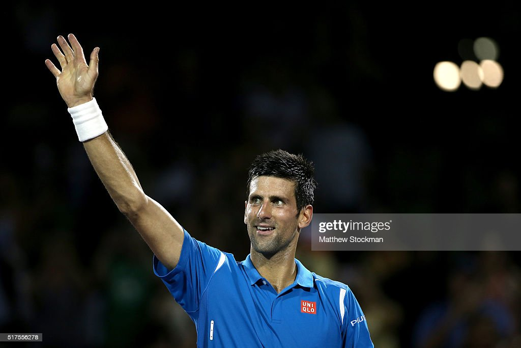 Novak Djokovic of Serbia celebrates his win over Kyle Edmund of Great Britain during the Miami Open presented by Itau at Crandon Park Tennis Center on March 25, 2016 in Key Biscayne, Florida.