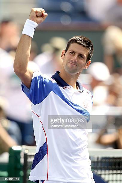 Novak Djokovic of Serbia celebrates his win over Richard Gasquet of France during the BNP Paribas Open at the Indian Wells Tennis Garden on March 18,...