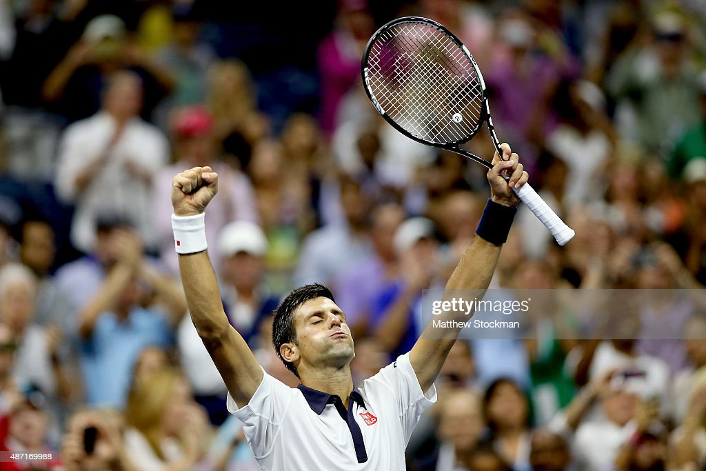 Novak Djokovic of Serbia celebrates his win over Roberto Bautista Agut of Spain during their Men's Singles Fourth Round match on Day Seven of the 2015 US Open at the USTA Billie Jean King National Tennis Center on September 6, 2015 in the Flushing neighborhood of the Queens borough of New York City.