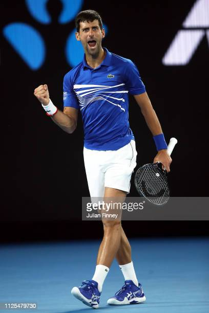 Novak Djokovic of Serbia celebrates in his Men's Singles Final match against Rafael Nadal of Spain during day 14 of the 2019 Australian Open at...