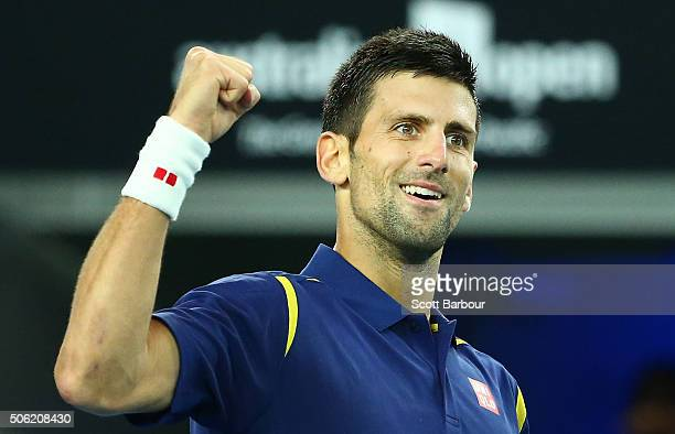 Novak Djokovic of Serbia celebrates in his third round match against Andreas Seppi of Italy during day five of the 2016 Australian Open at Melbourne...