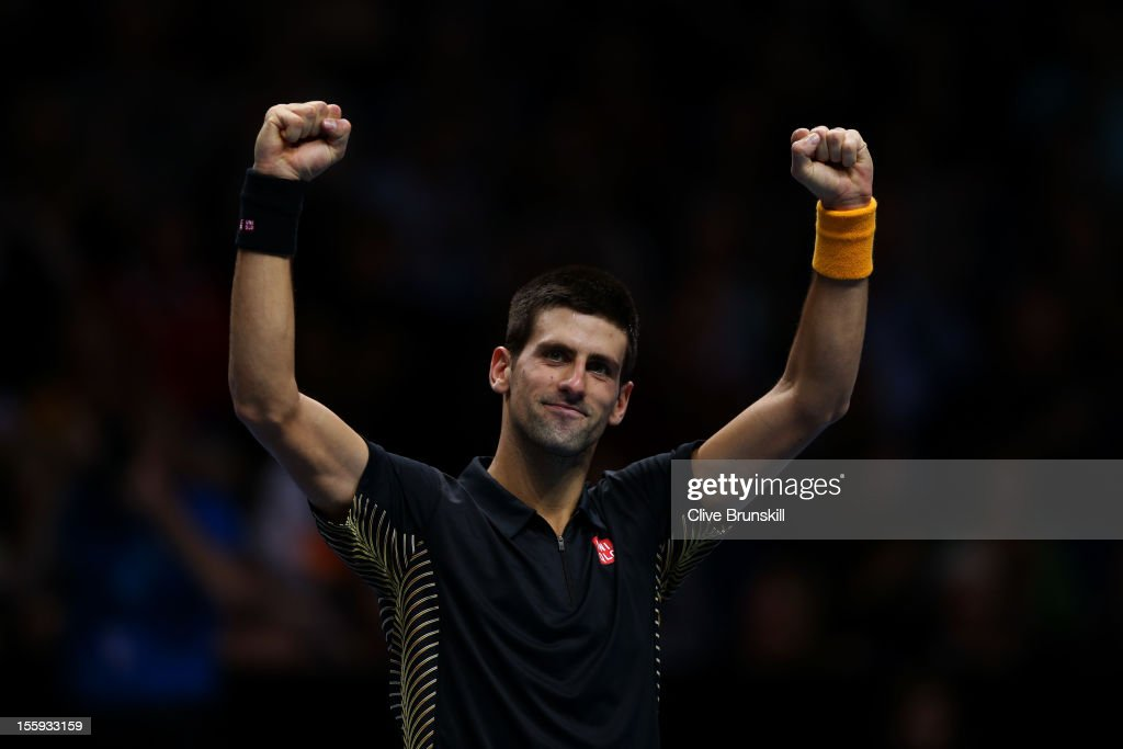 Novak Djokovic of Serbia celebrates match point after his men's singles match against Tomas Berdych of Czech Republic on day five of the ATP World Tour Finals at O2 Arena on November 9, 2012 in London, England.