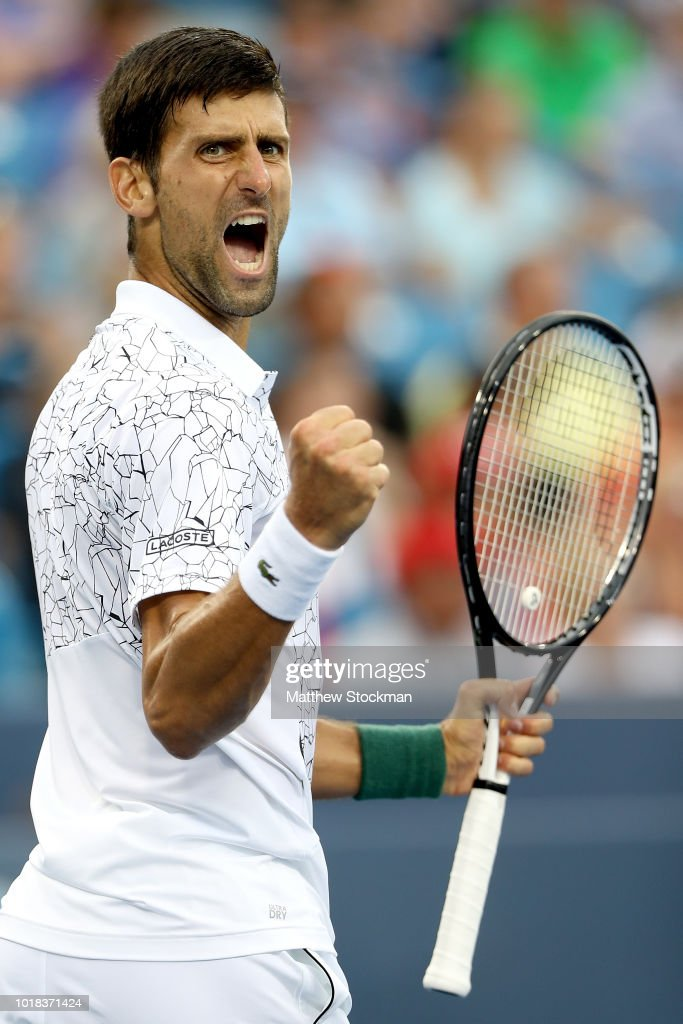 Novak Djokovic of Serbia celebrates match point against Milos Roanic of Canada during the Western & Southern Open at Lindner Family Tennis Center on August 17, 2018 in Mason, Ohio.