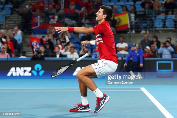 Novak Djokovic of Serbia celebrates match point in his doubles final with with Viktor Troicki of Serbia against Feliciano Lopez and Pablo Carreno...