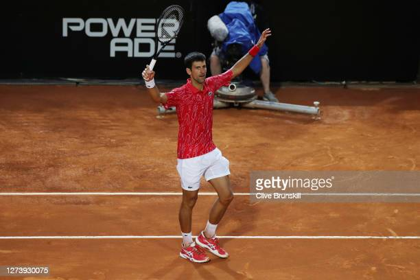 Novak Djokovic of Serbia celebrates match point in his men's final match against Diego Schwartzman of Argentina during day eight of the...