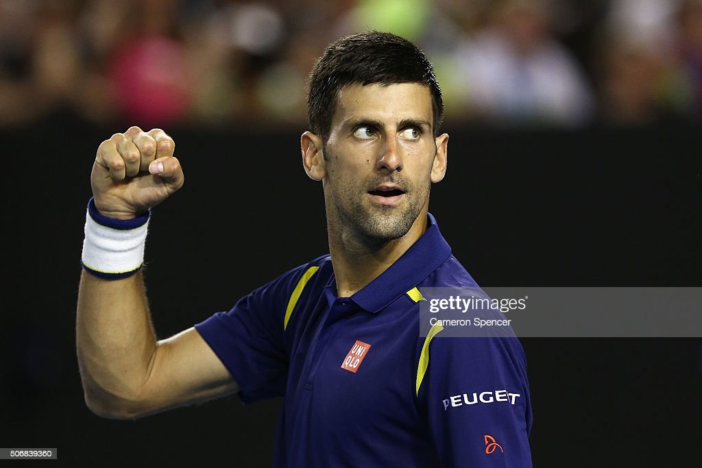 Novak Djokovic of Serbia celebrates match point in his quarter final match against Kei Nishikori of Japan during day nine of the 2016 Australian Open at Melbourne Park on January 26, 2016 in Melbourne, Australia.
