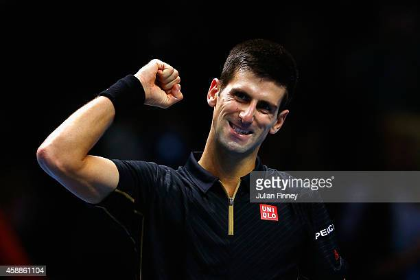 Novak Djokovic of Serbia celebrates match point in the round robin singles match against Stan Wawrinka of Switzerland on day four of the Barclays ATP...