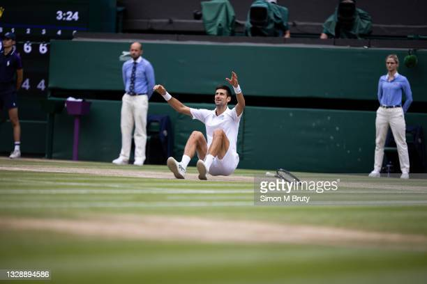 Novak Djokovic of Serbia celebrates the moment of victory during the Men's Singles Final against Matteo Berrettini of Italy at The Wimbledon Lawn...