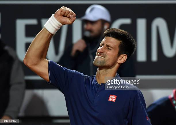 Novak Djokovic of Serbia celebrates the victory after the men's semifinal match between Dominic Thiem of Austria and Novak Djokovic of Serbia during...