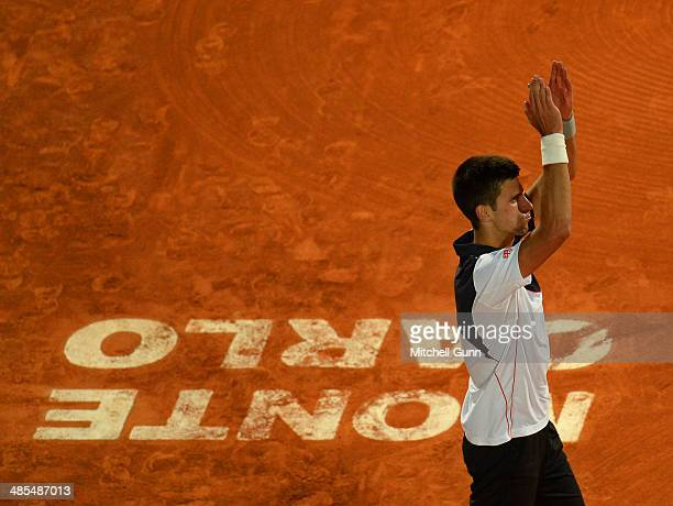 Novak Djokovic of Serbia celebrates the victory against Guilermo GarciaLopez of Spain during their quarter final on day six of the ATP Monte Carlo...