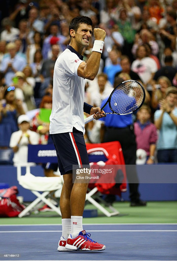 Novak Djokovic of Serbia celebrates to the crowd after his four set victory against Roberto Bautista Agut of Spain in their mens singles fourth round match on Day Seven of the 2015 US Open at the USTA Billie Jean King National Tennis Center on September 6, 2015 in the Flushing neighborhood of the Queens borough of New York City.