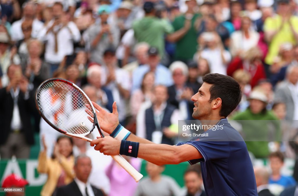 Novak Djokovic of Serbia celebrates to the crowd after his three set victory against Gilles Simon of France in his second round match on day three of the Monte Carlo Rolex Masters at Monte-Carlo Sporting Club on April 18, 2017 in Monte-Carlo, Monaco.