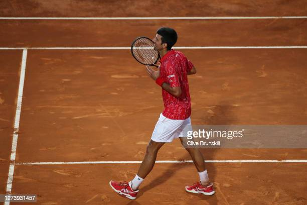 Novak Djokovic of Serbia celebrates to the fans after winning his men's final match against Diego Schwartzman of Argentina during day eight of the...