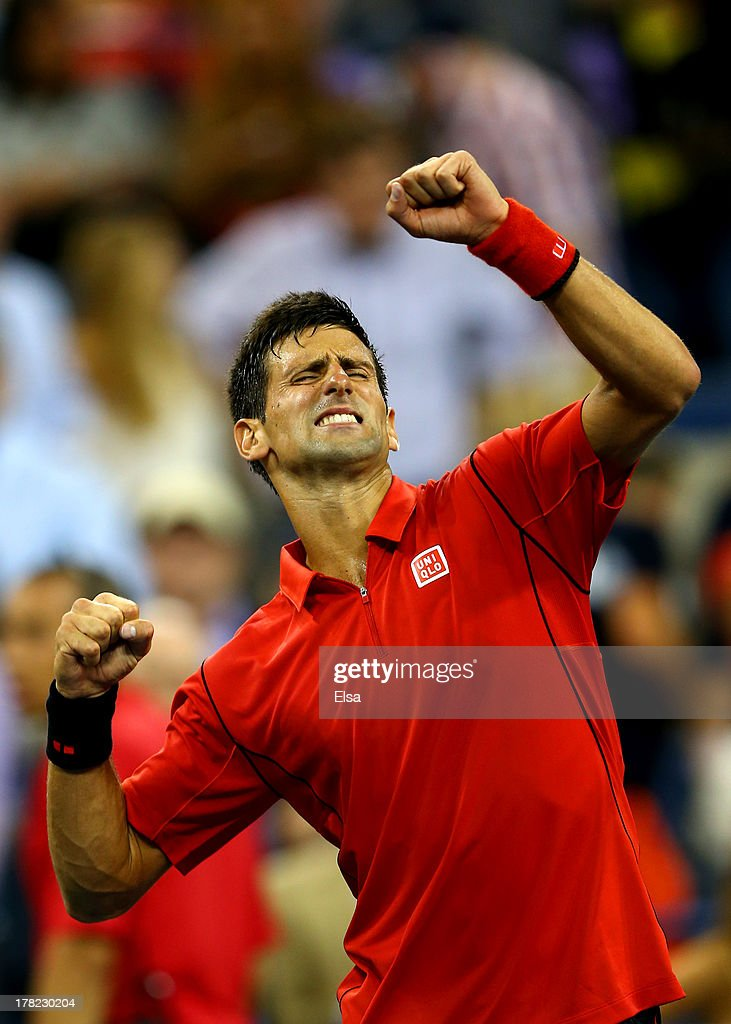 Novak Djokovic of Serbia celebrates victory after his men's singles first round match against Ricardas Berankis of Lithuania on Day Two of the 2013 US Open at USTA Billie Jean King National Tennis Center on August 27, 2013 in the Flushing neighborhood of the Queens borough of New York City.