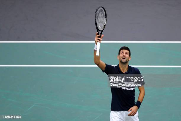 Novak Djokovic of Serbia celebrates victory after his semi final match against Grigor Dimitrov of Bulgaria on day 6 of the Rolex Paris Masters, part...