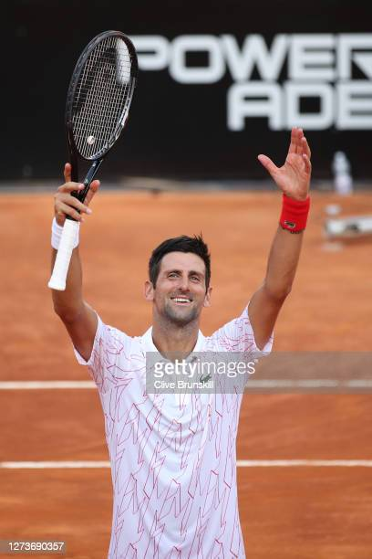 Novak Djokovic of Serbia celebrates victory after winning his semifinal match against Casper Ruud of Norway during day seven of the Internazionali...