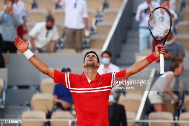 Novak Djokovic of Serbia celebrates victory after winning his Men's Singles Final match against Stefanos Tsitsipas of Greece during Day Fifteen of...