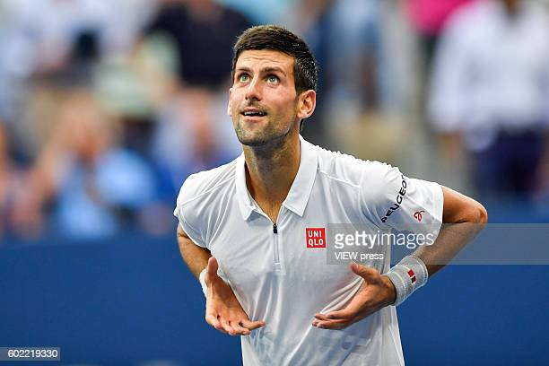 Novak Djokovic of Serbia celebrates victory against Gael Monfils of France against during their Men's Singles Semifinal Match of the 2016 US Open at...