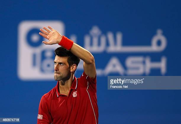 Novak Djokovic of Serbia celebrates victory against Stanislas Wawrinka of Switzerland after their semi final match during the Mubadala World Tennis...