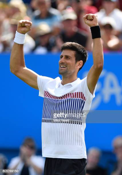 Novak Djokovic of Serbia celebrates victory during his mens singles final against Gael Monfils of France on day seven of the Aegon International...