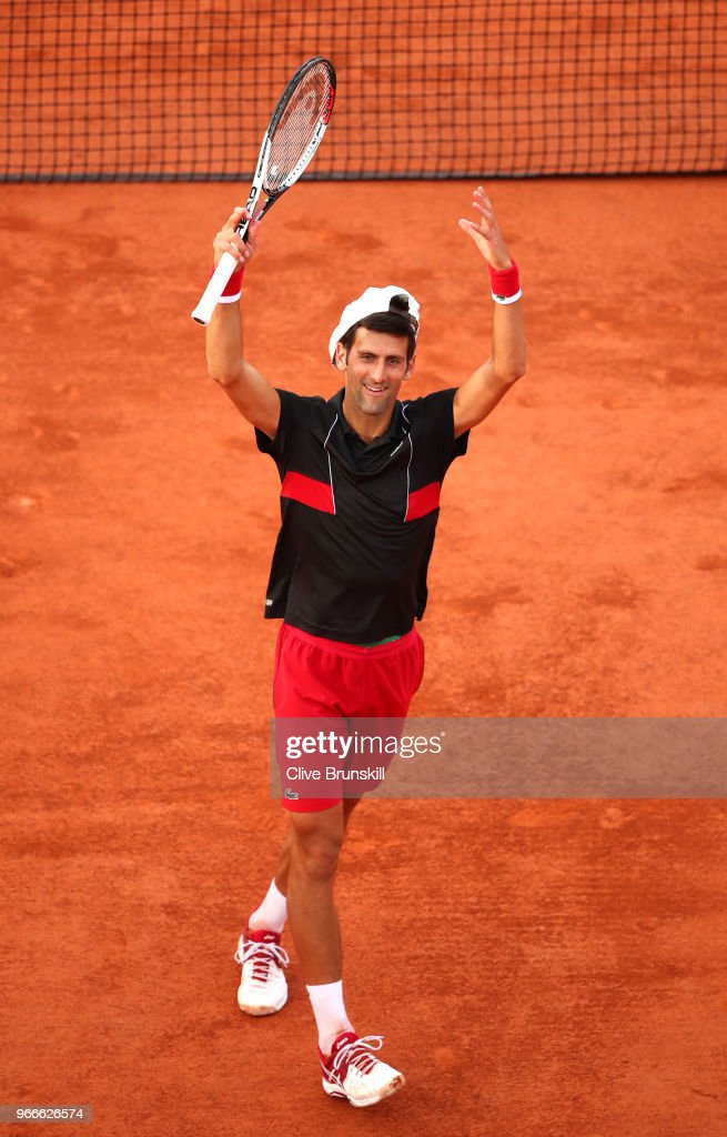 Novak Djokovic of Serbia celebrates victory during the mens singles fourth round match against Fernando Verdasco of Spain during day eight of the 2018 French Open at Roland Garros on June 3, 2018 in Paris, France.