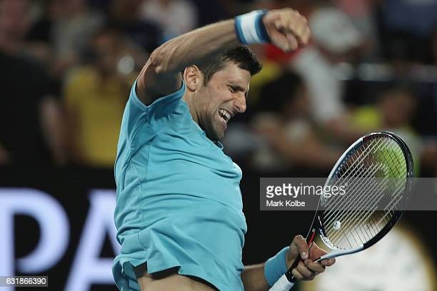 Novak Djokovic of Serbia celebrates victory in his first round match against Fernando Verdasco of Spain on day two of the 2017 Australian Open at...