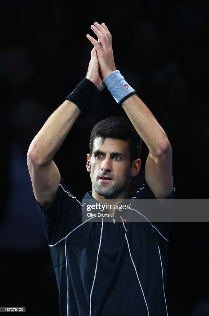 Novak Djokovic of Serbia celebrates victory in his men's singles match against Juan Martin Del Potro of Argentina during day four of the Barclays ATP World Tour Finals at O2 Arena on November 7, 2013 in London, England.