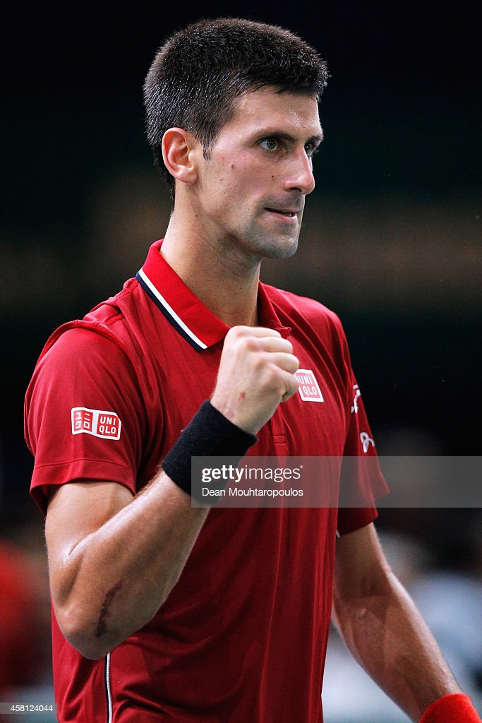 Novak Djokovic of Serbia celebrates victory over Gael Monfils of France during day 4 of the BNP Paribas Masters held at the at Palais Omnisports de Bercy on October 30, 2014 in Paris, France.