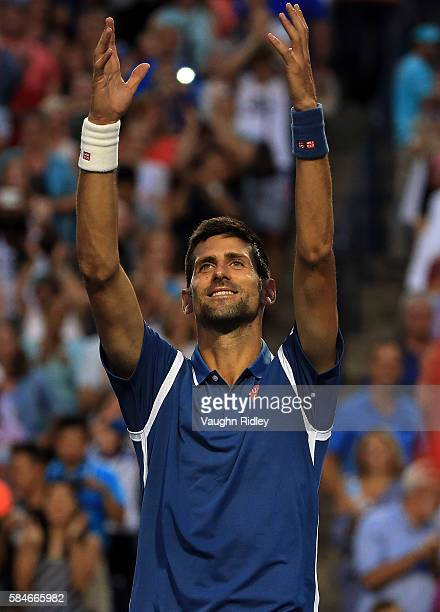 Novak Djokovic of Serbia celebrates victory over Tomas Berdych of Czech Republic during Day 5 of the Rogers Cup at the Aviva Centre on July 29 2016...